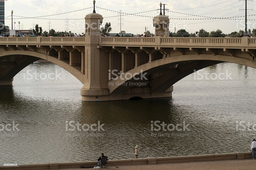 Marathoners on Bridge stock photo