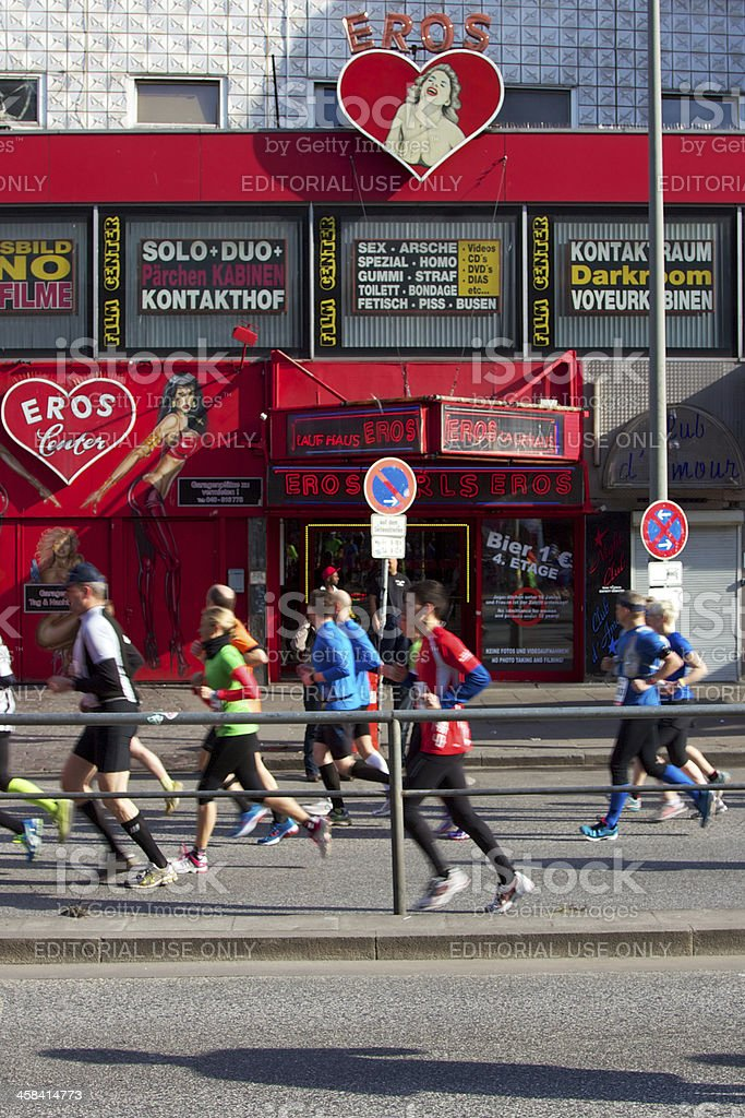 Marathoners Pass through St. Pauli royalty-free stock photo