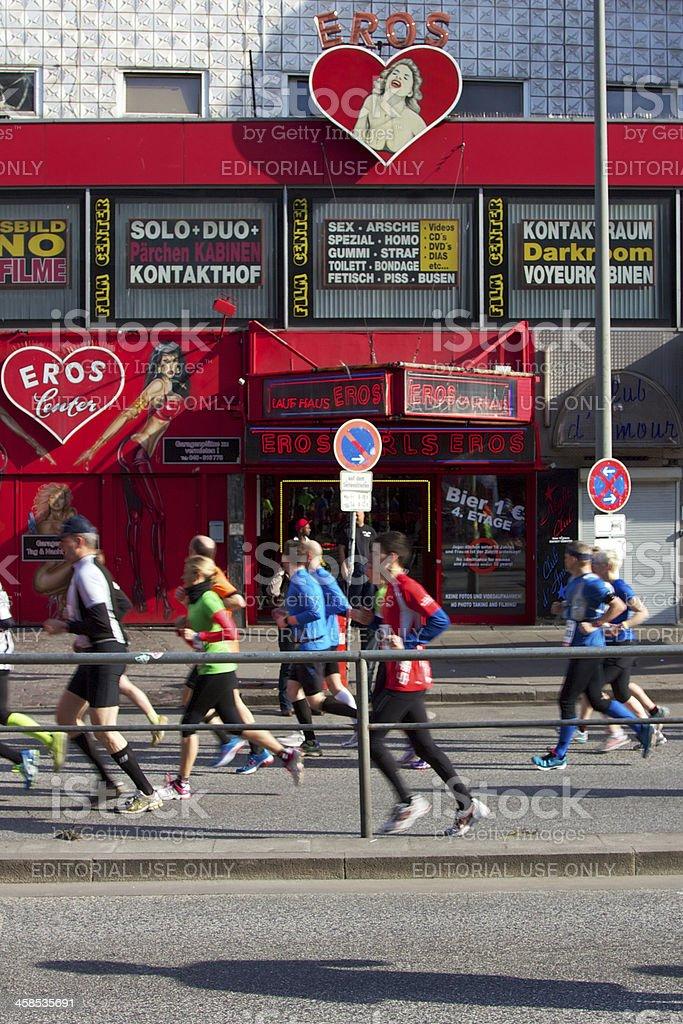 Marathoners Pass through St. Pauli royalty-free stock photo