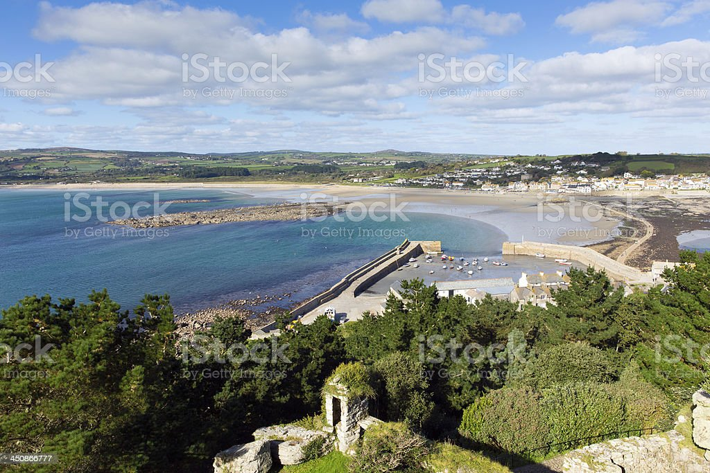 Marazion Cornwall England from St Michael's Mount castle stock photo