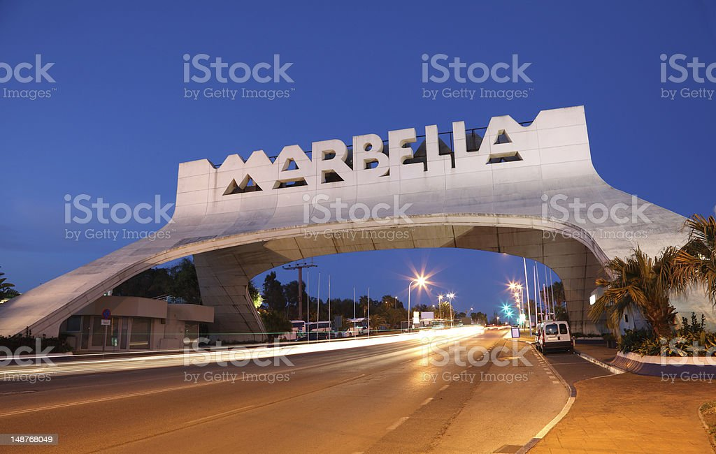 Marbella Arch at night. Spain stock photo