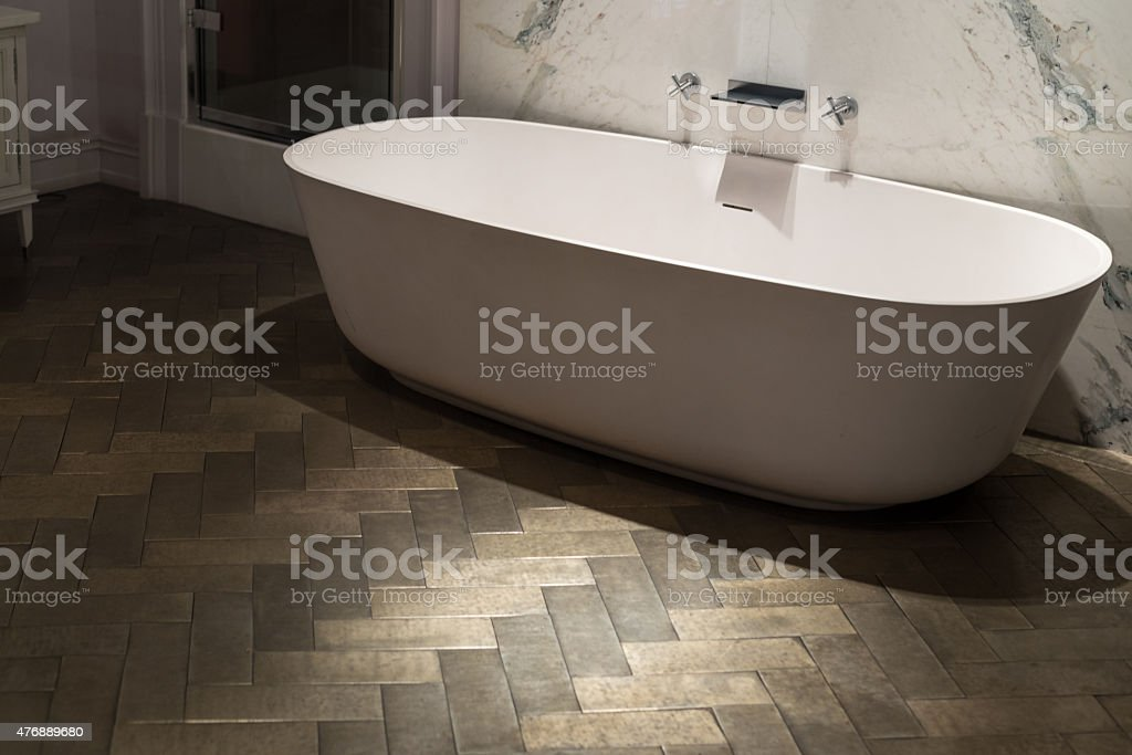 Marble and Wood Bathroom stock photo