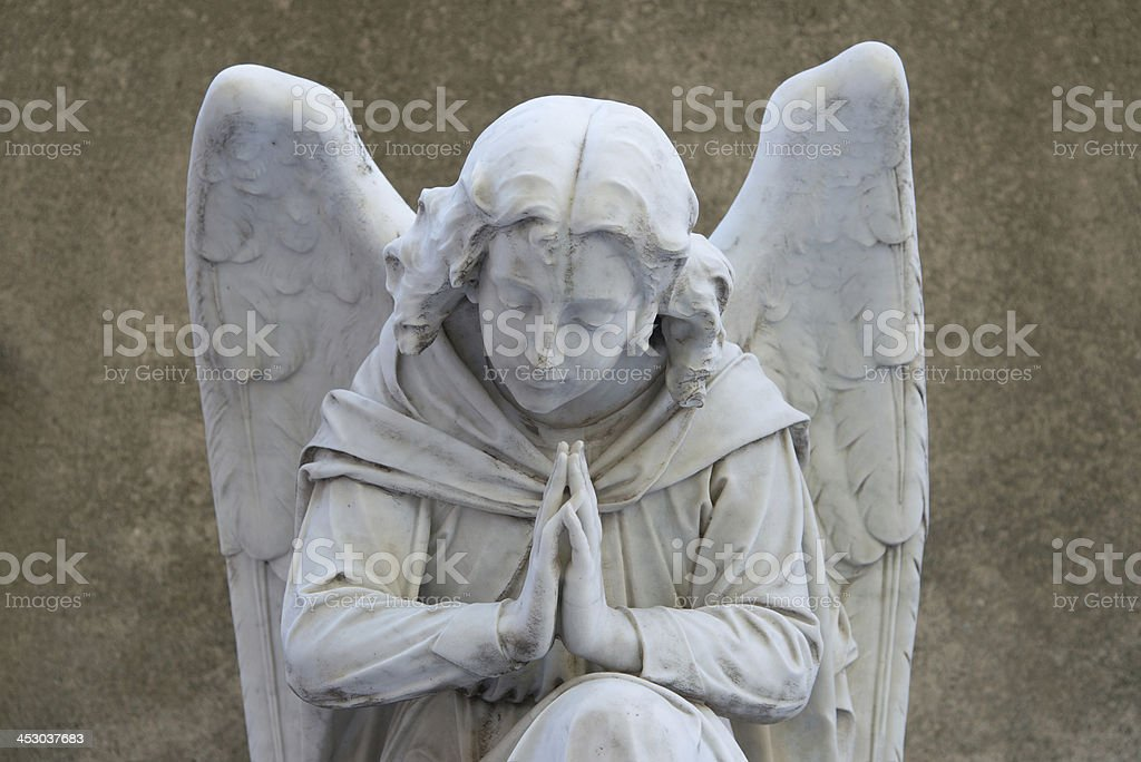 marble angel in the cemetery royalty-free stock photo