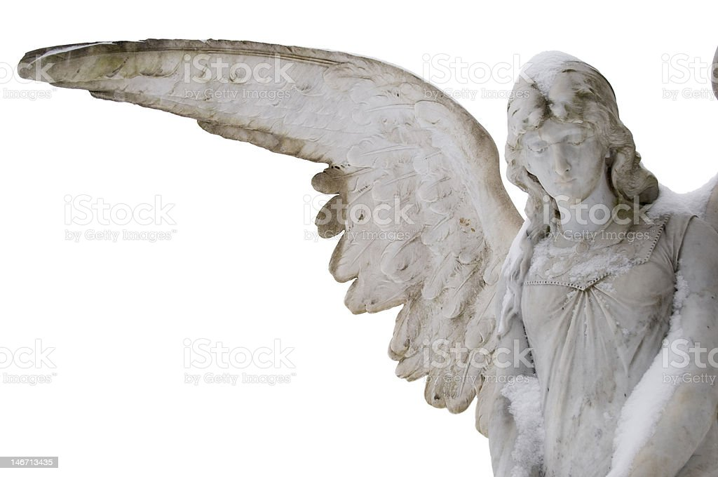 Marble Angel with extended wing stock photo
