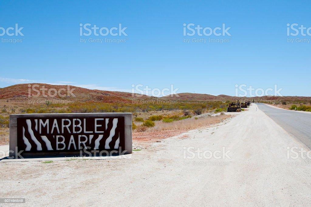 Marble Bar Sign - Australia stock photo