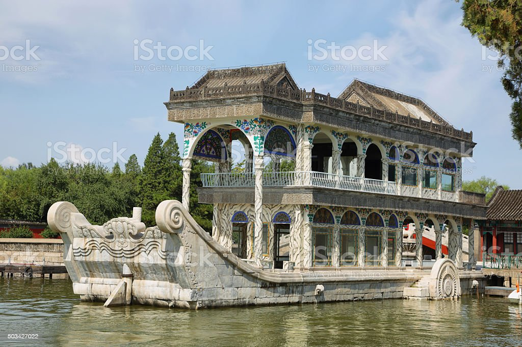 Marble boat at the summer palace stock photo