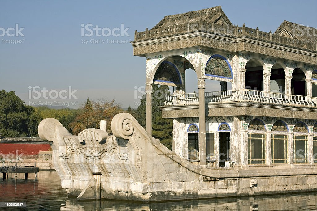 Marble boat in Summer Palace compound. Beijing. stock photo