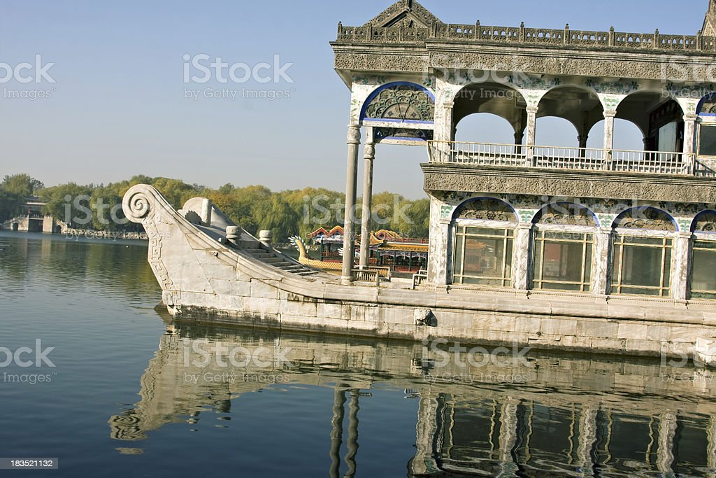 Marble boat in Summer Palace compound. Beijing. royalty-free stock photo
