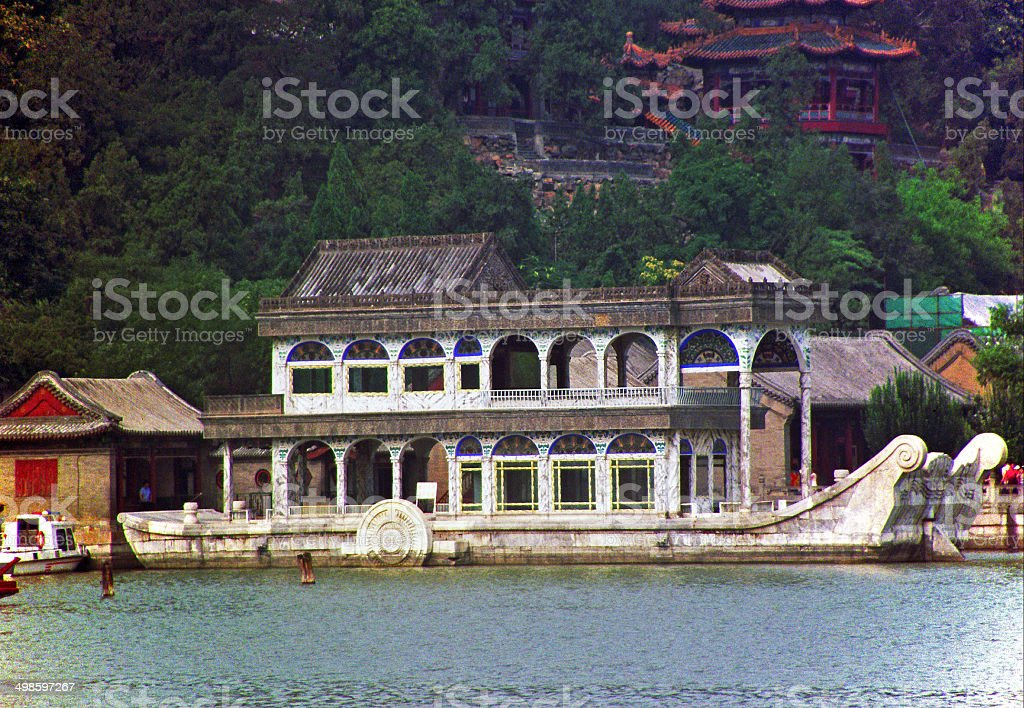 marble boat of empress Cixi in summer palace, Beijing, China. stock photo