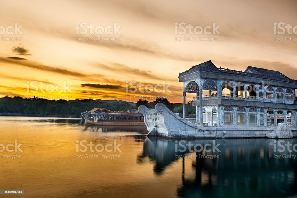 Marble boat. Summer Palace Beijing royalty-free stock photo