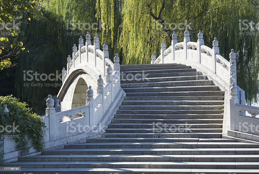 Marble bridge and weeping willow trees in the Beihai Park royalty-free stock photo