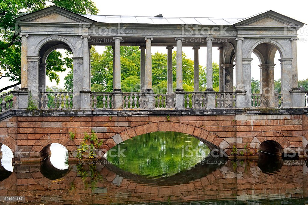 Marble bridge in Tsarskoye Selo (Pushkin), Saint-Petersburg stock photo