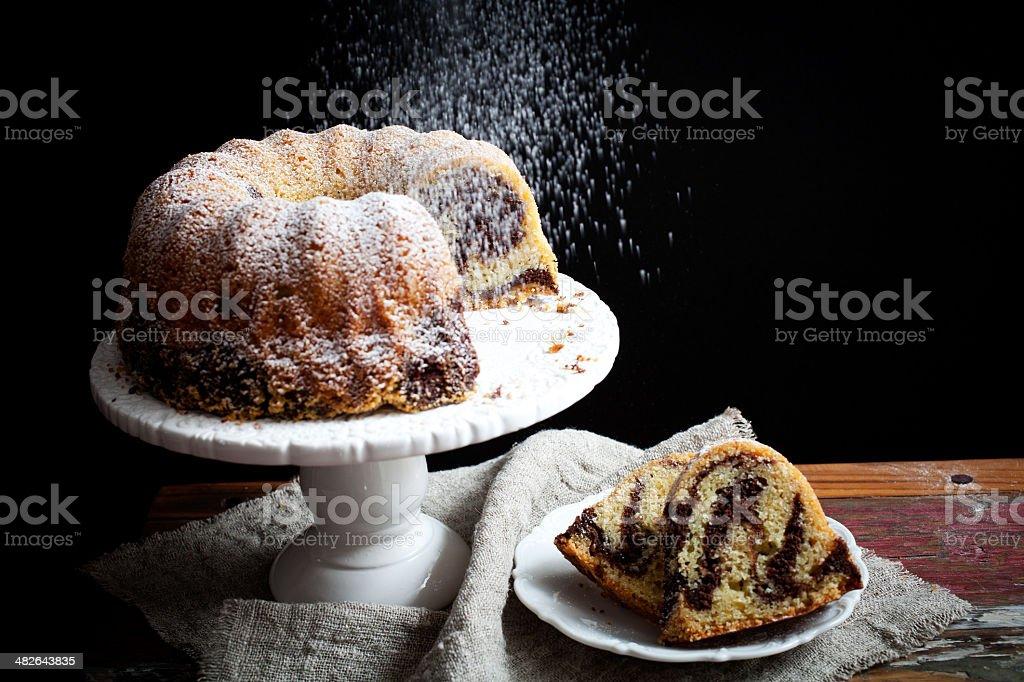 Marble bundt cake stock photo