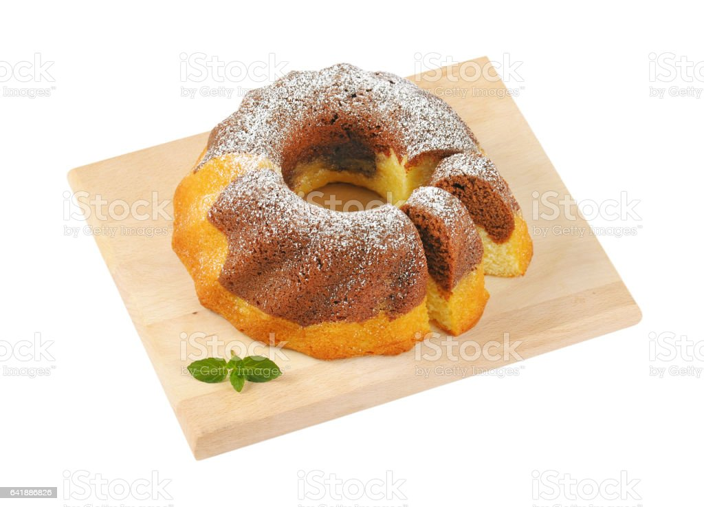marble bundt cake stock photo