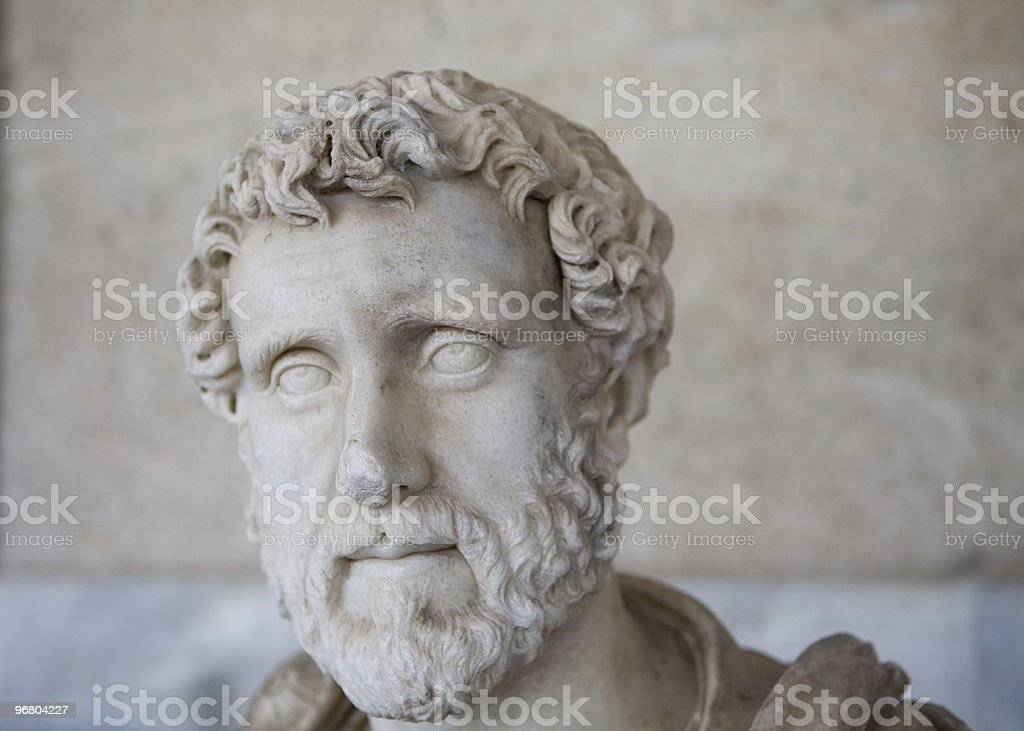 Marble bust of a Roman Nobleman stock photo