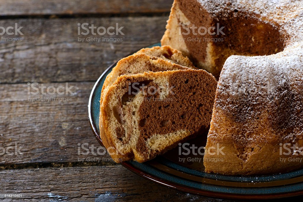 Marble cake in plate stock photo