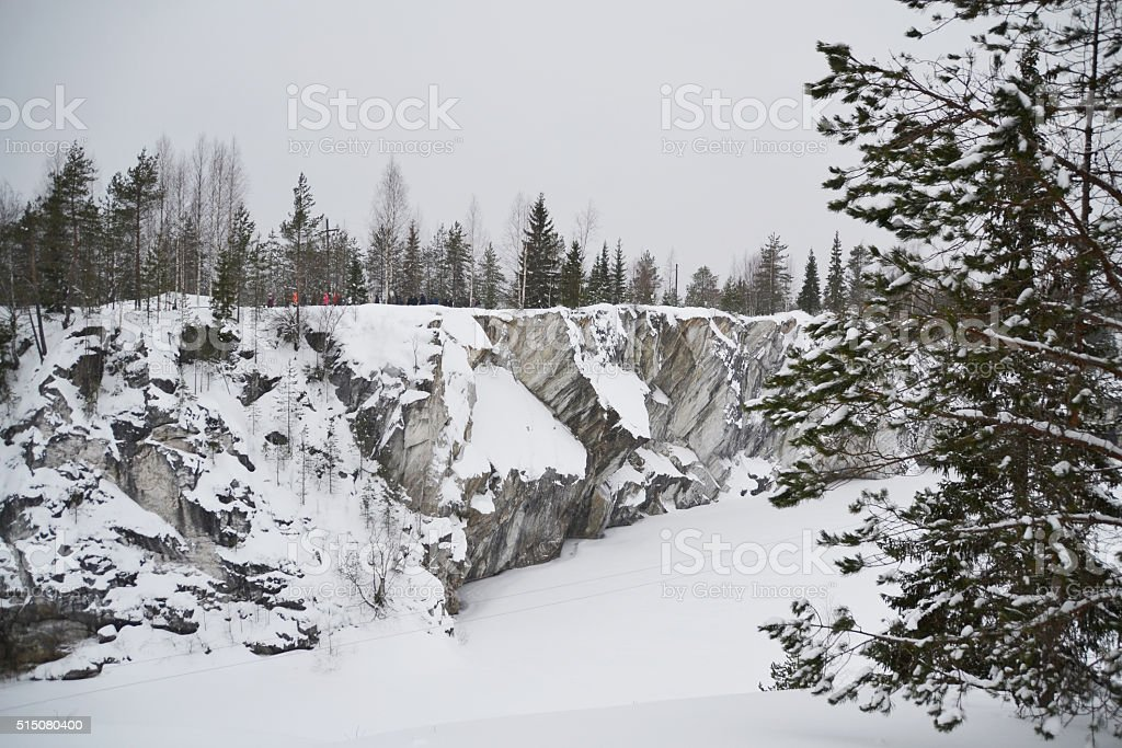 Marble canyon 'Ruskeala' in Karelia. stock photo