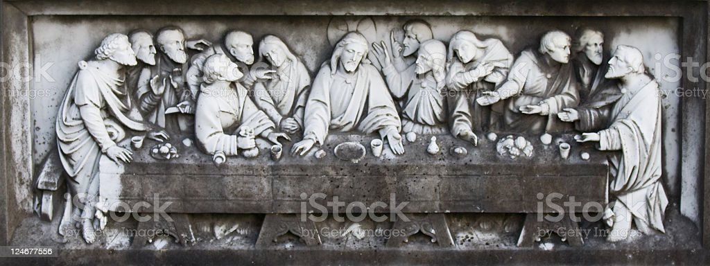 Marble carving of the last supper stock photo