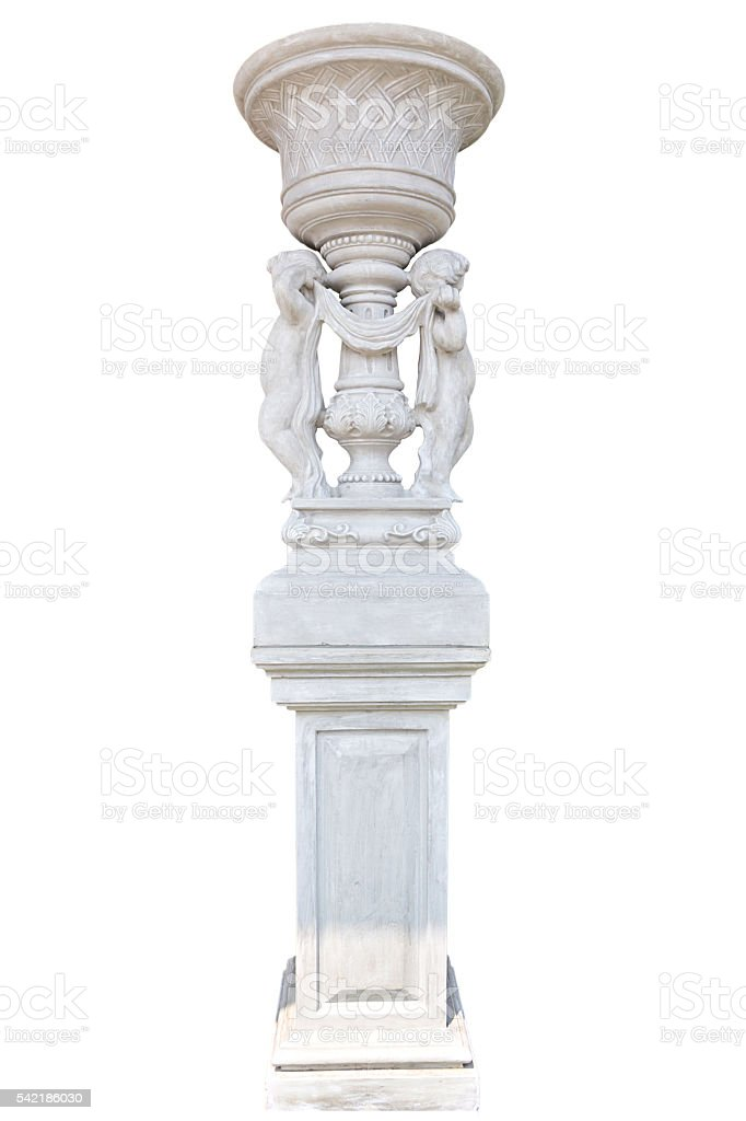 Marble column isolated on white background stock photo