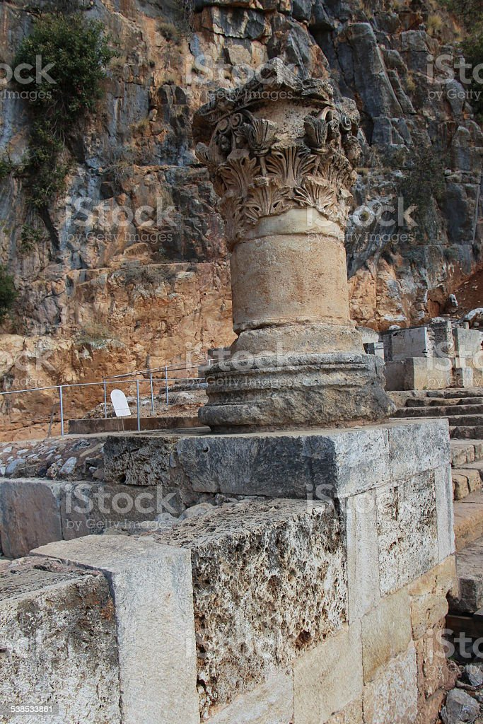 Marble Column  of Temple of Pan stock photo