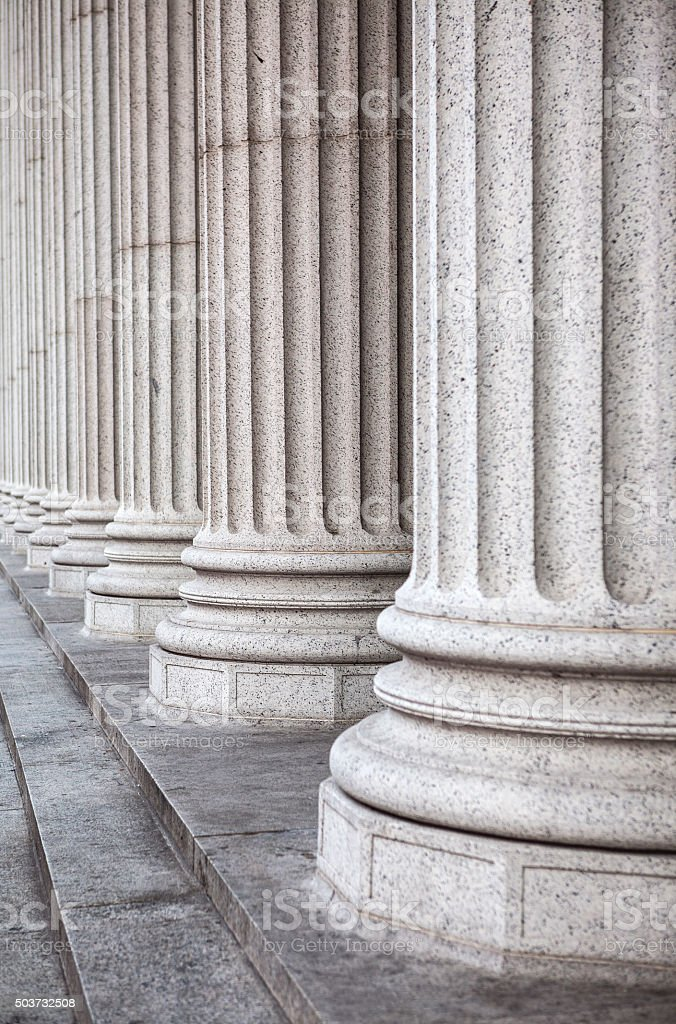 Marble columns, and stairs stock photo
