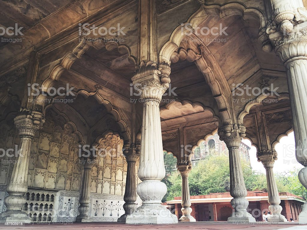 Marble Columns at Shah Burj, Red Fort, New Delhi stock photo