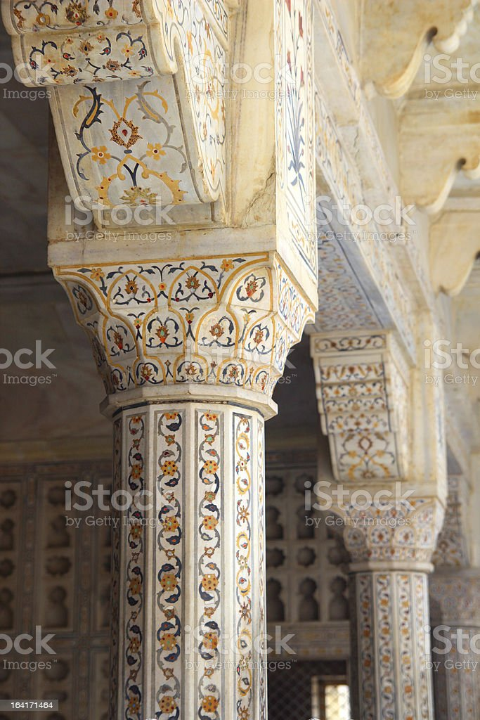 marble columns in red Agra Fort royalty-free stock photo
