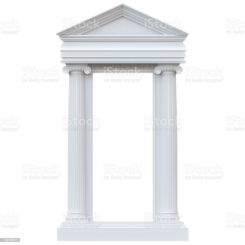 Marble Columns Isolated on white background (glossy version) royalty-free stock photo