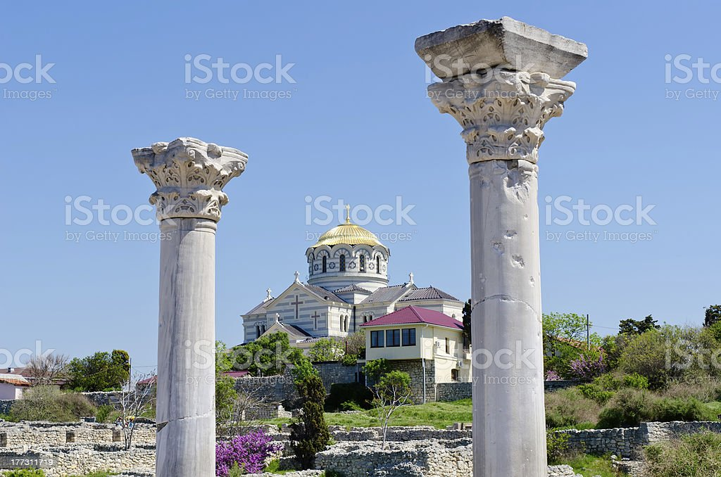 Marble columns of Ancient Greek basilica in Chersonesus royalty-free stock photo