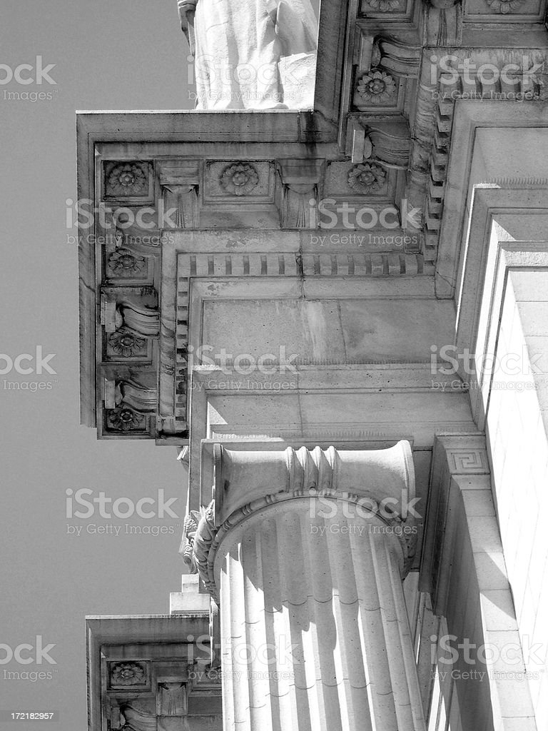 Marble cornice B&W royalty-free stock photo