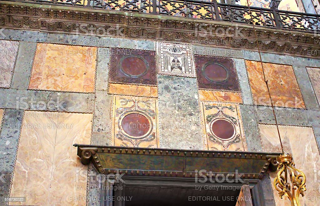 Marble decorations in Hagia Sophia, Istanbul, Turkey stock photo