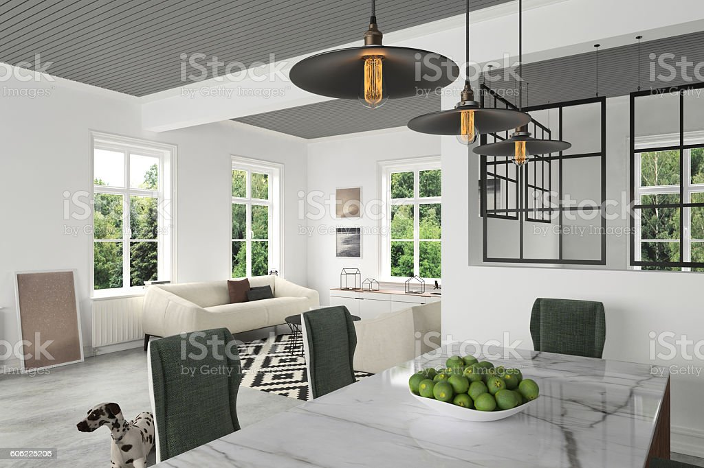 Marble dining table with chairs close up stock photo