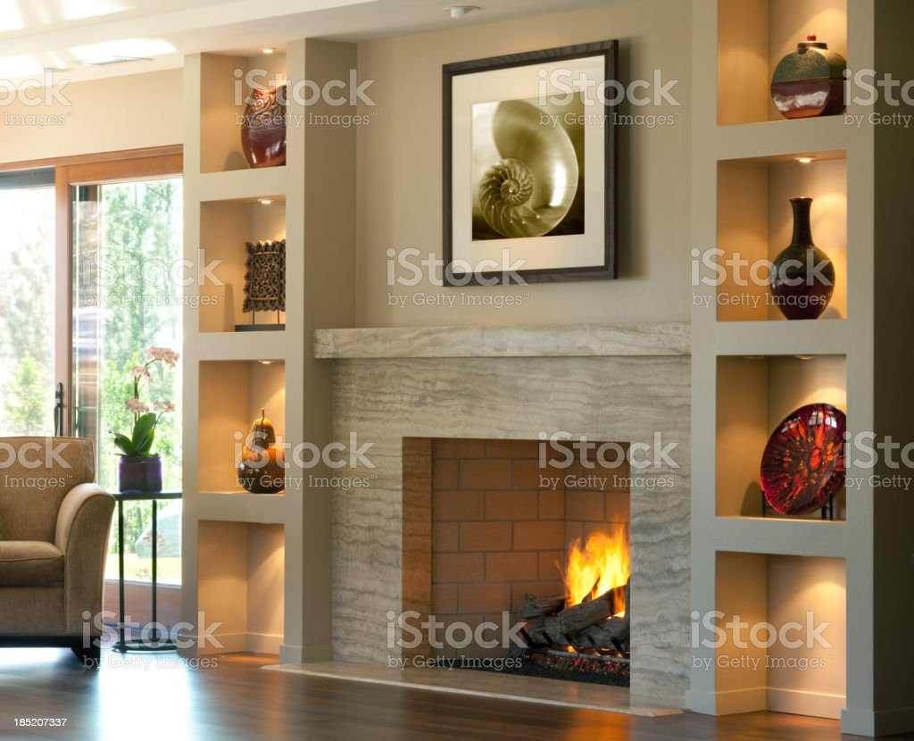 marble fireplace royalty-free stock photo