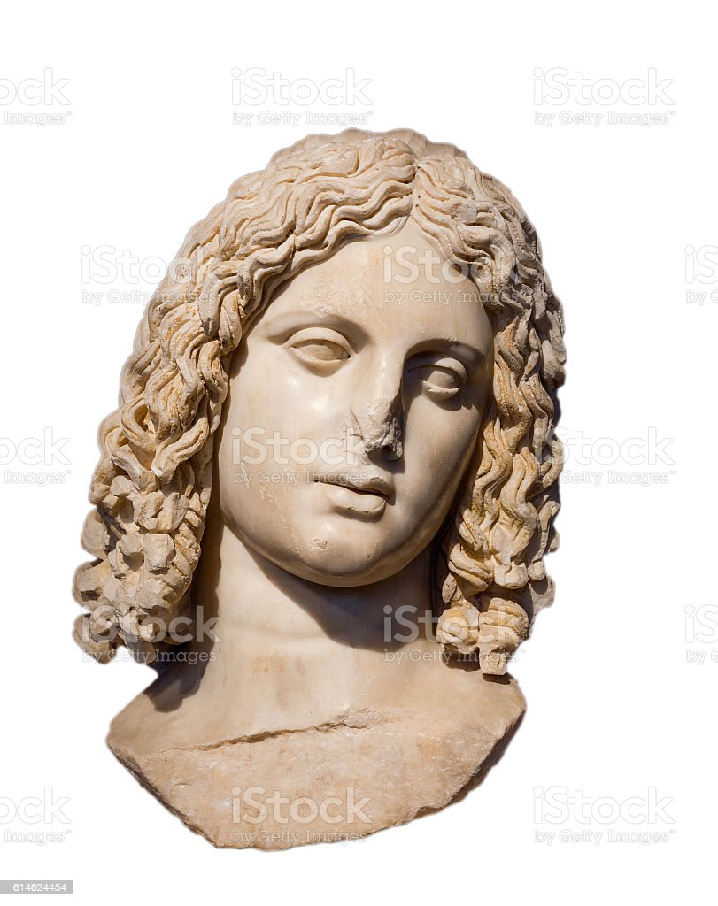 Marble head of Alexander the Great isolated on white stock photo
