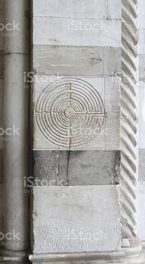 Marble labyrinth in Lucca royalty-free stock photo