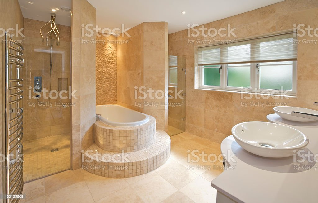 marble lined bathroom stock photo
