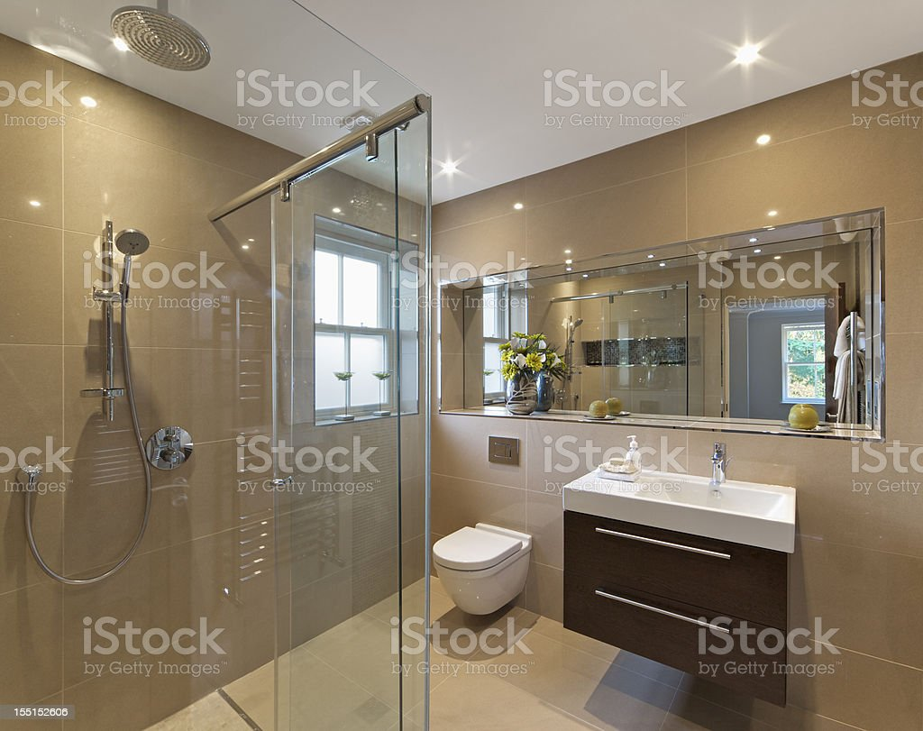 marble lined shower room royalty-free stock photo