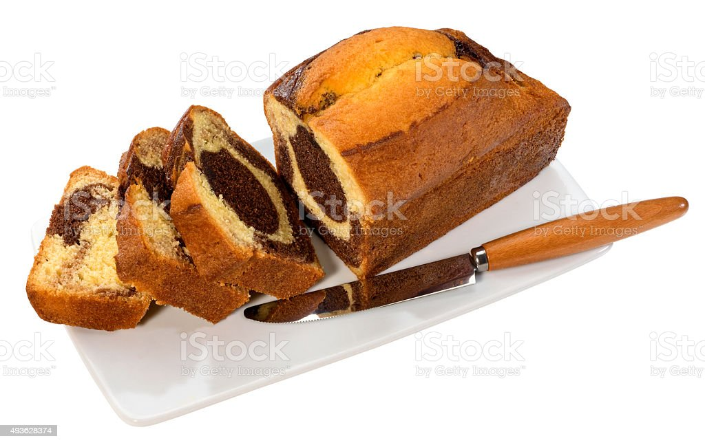 Marble loaf cake stock photo