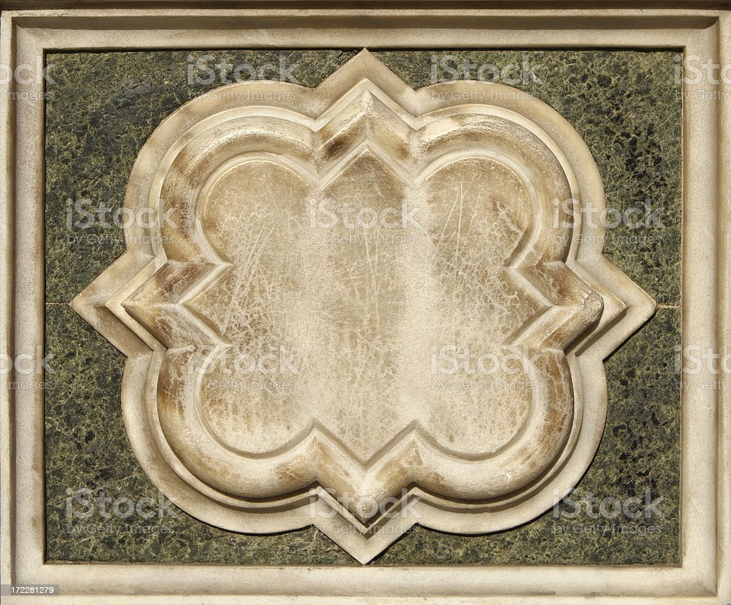 Marble ornament from the facade of il Duomo in Florence royalty-free stock photo