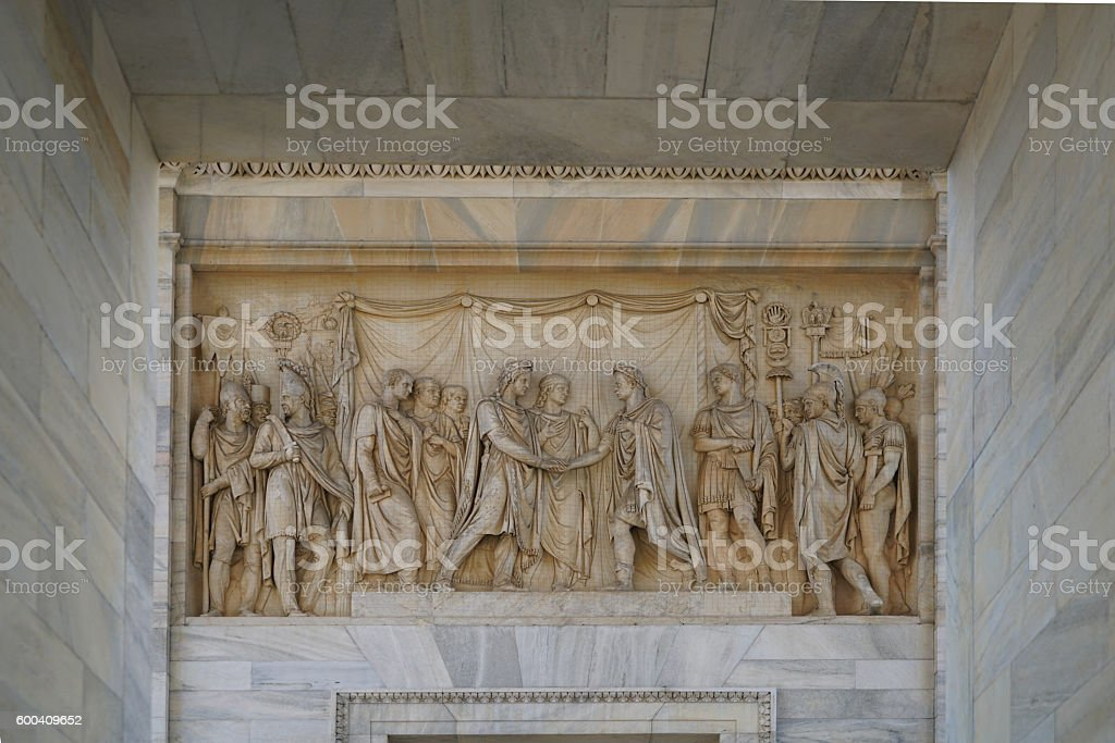 marble picture in the arco delle pace stock photo