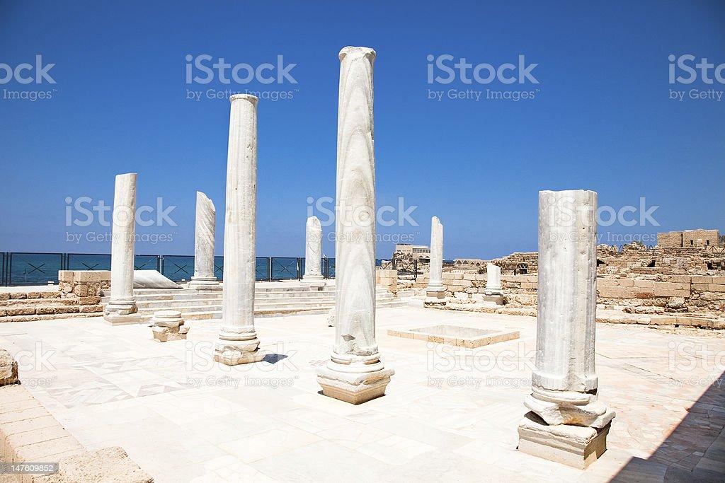 Marble pillars in Caesarea. Israel. stock photo