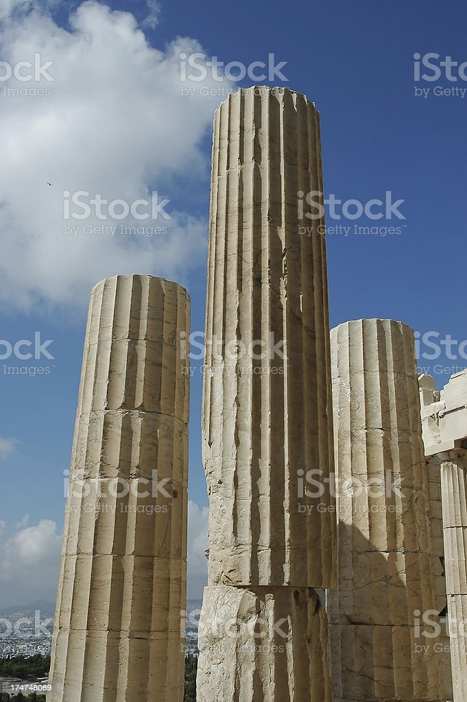 Marble Pillars, Parthenon,  Athens royalty-free stock photo
