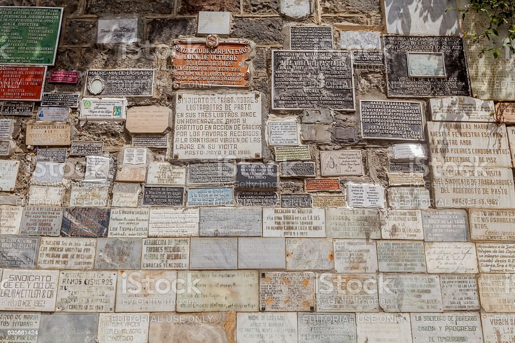 Marble Plates With The Religious Texts, Las Lajas Church Marble stock photo