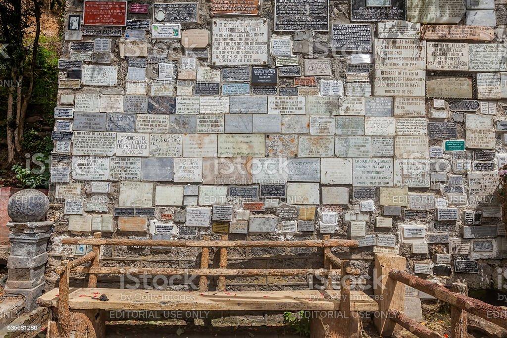 Marble Plates With The Religious Texts, Las Lajas Sanctuary stock photo