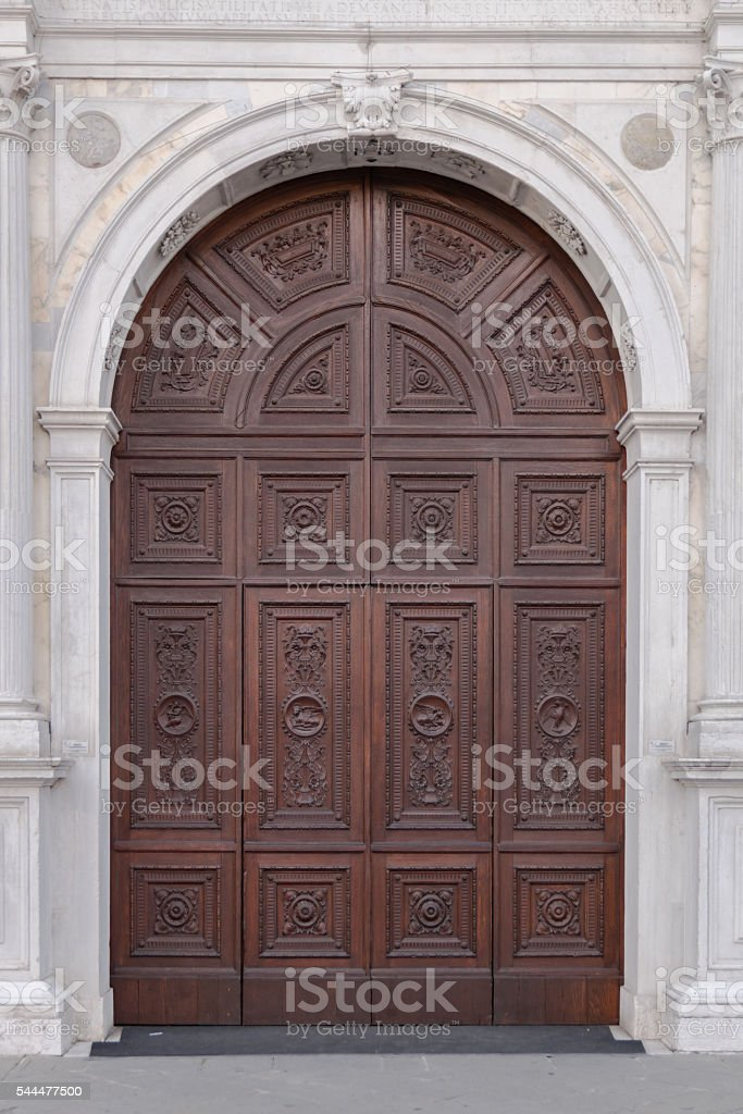 Marble portal in Gothic-Renaissance style. stock photo