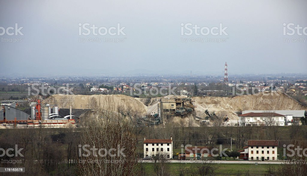 marble quarries mineral extraction recovery from above royalty-free stock photo