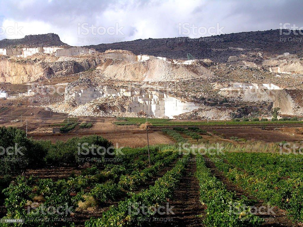 Marble Quarry in Custonaci, Sicily stock photo