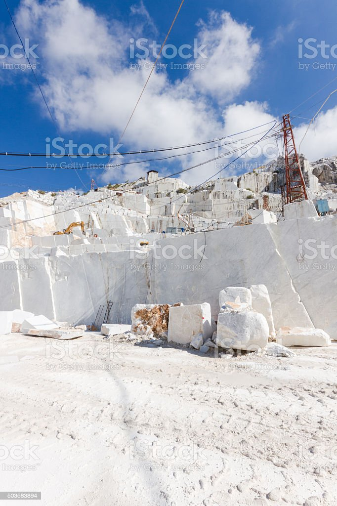 Marble quarry of Carrara in Italy stock photo