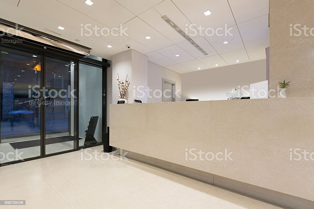 Marble reception desk in hotel stock photo