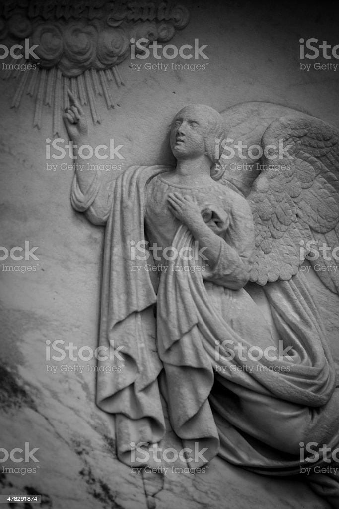 Marble Relief Angel on Tombstone stock photo